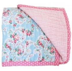 Alimrose Cot Quilt - Reversible Floral & Pink Stripe - Quilts, Blankets & Wraps