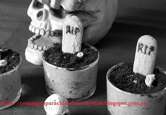 Tumbas halloween de mousse de choco