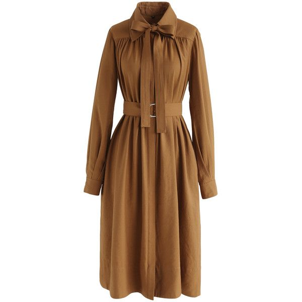 Chicwish Plenty of Charm Bowknot Coat Dress in Mustard ($55) ❤ liked on Polyvore featuring dresses, yellow, mustard yellow dress, chicwish dresses, coat dress, yellow dress and brown dresses