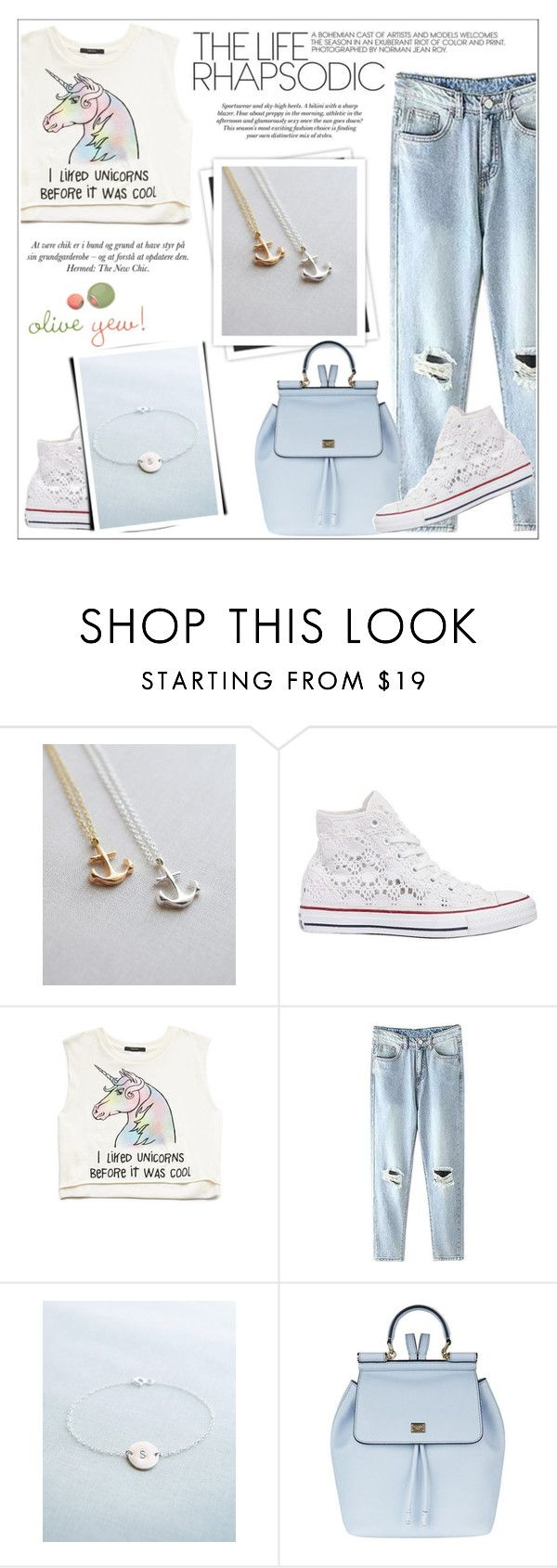 """""""Oliveyewjewelry"""" by water-polo ❤ liked on Polyvore featuring Converse, Forever 21, H&M, GALA, Dolce&Gabbana, women's clothing, women, female, woman and misses"""