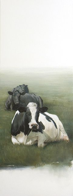 Sold | Three Lying Cows 32 x 12 inch (80 x 30 cm)  © 2009 Klimas