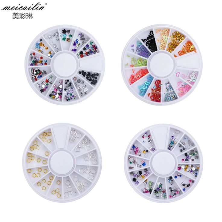 Wholesale 12 color Nail Art Decorations DIY Crystal Glitter AB Rhinestones Acrylic 3D Diamond Round Nail Salon Sticker with glue #Affiliate