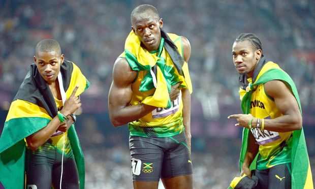 Gold, silver and bronze for the Jamaican team in the Men's 200m final as Usain Bolt won Gold, Warren Weir bronze and Yohan Blake, silver. Photograph: Jeremy Selwyn/NOPP