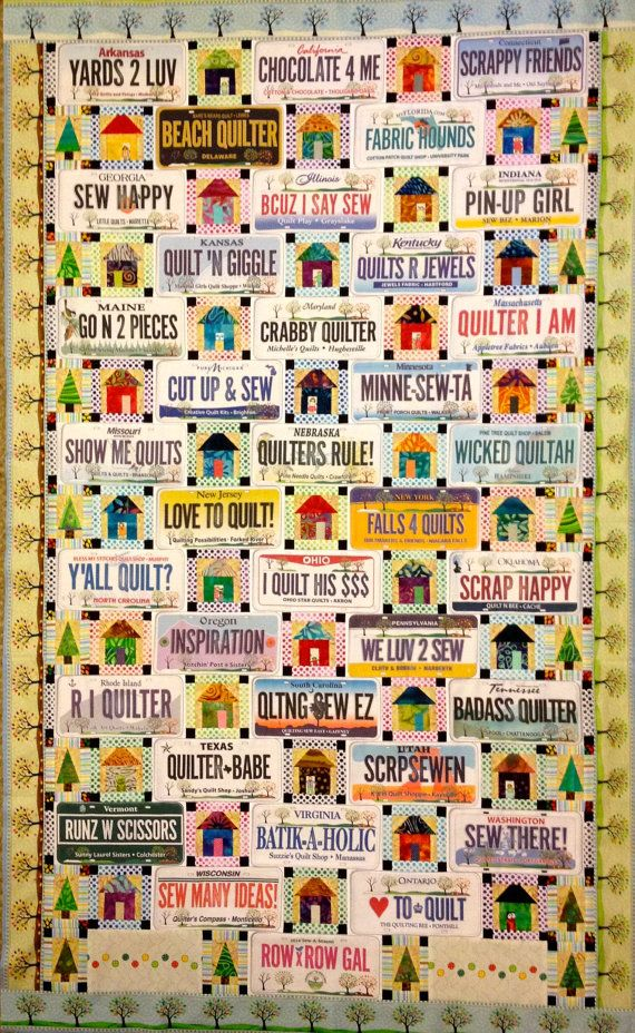 2014 License Plate Quilt Pattern by SusansQuiltCreations on Etsy