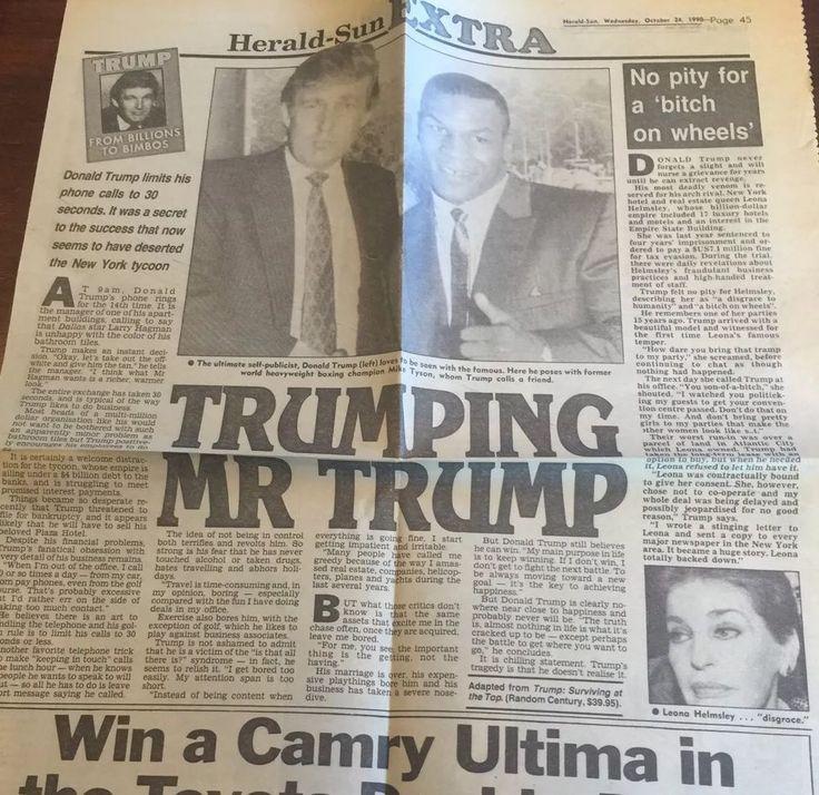 President Donald Trump Mike Tyson Ephemera Newspaper Article Oct 1990 Melbourne