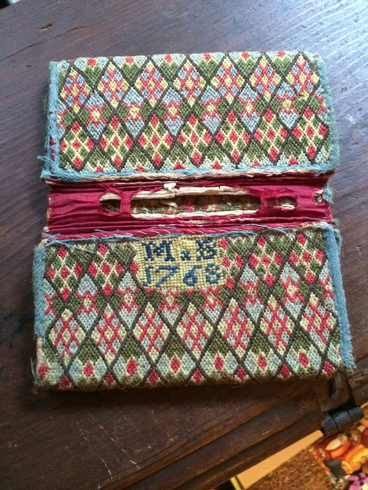 Rare Dated 1768 18th c man's embroidered crewel wallet pocketbook