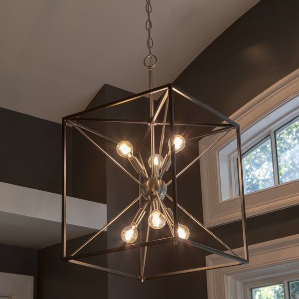 Boldt 6 Light Lantern Square Rectangle Chandelier Entryway Light Fixtures Bulb Pendant Light Entryway Lighting