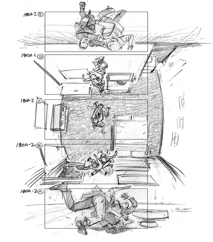 Storyboard art for the movie Inception. Art by Gabriel Hardman (http://www.gabrielhardman.com/)