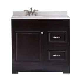 Espresso Integral Single Sink Bathroom Vanity with ...