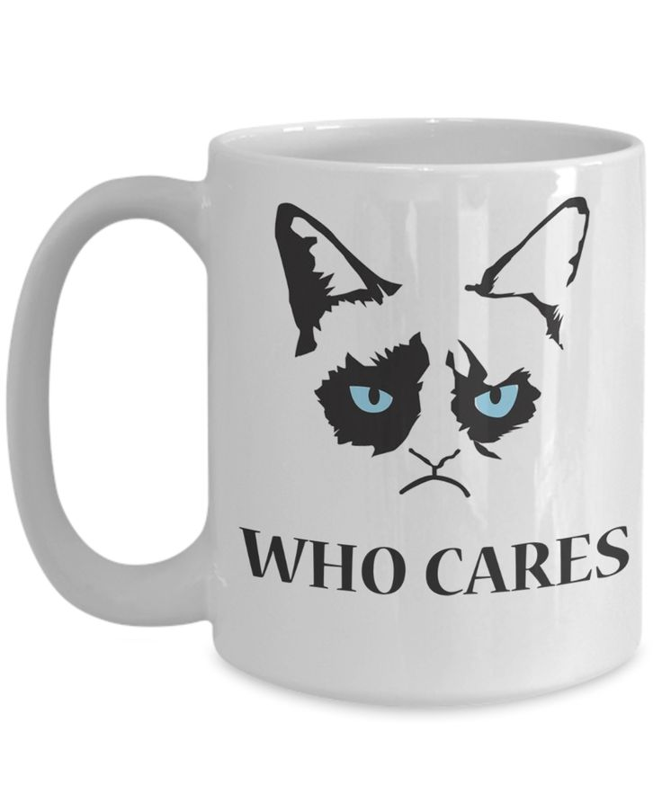Funny Grumpy Cat 15 oz Coffee Mug - Best Cat Mug - Cat Mugs For Women - Who Cares