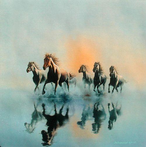 Бегущие лошади.Джим Уоррен - Схемы вышивки - СветланаЕгор - Авторы - Портал «Вышивка крестом»
