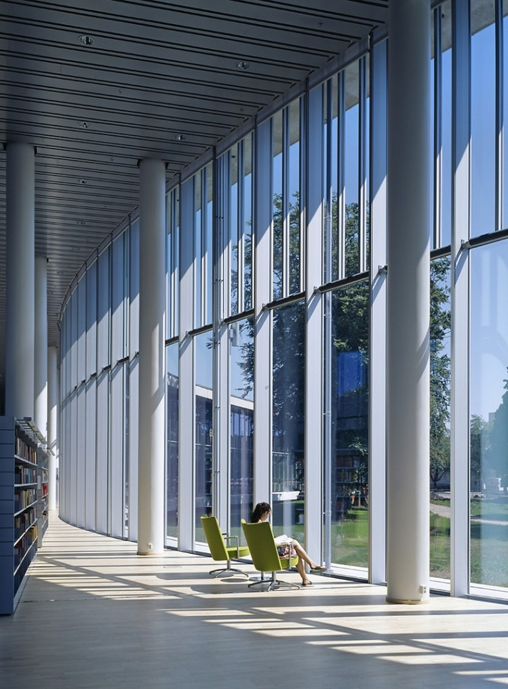 relaxing view of the centre atrium at Halmstad Library
