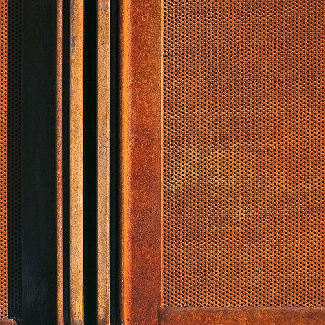 Corten frame and panel. Not sure what this material is... but I like it.. will have to research.