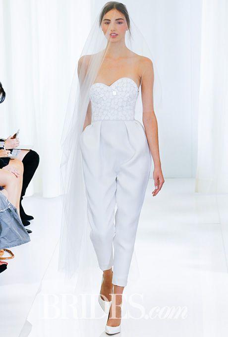 Brides.com: . Strapless gazar jumpsuit with laser-cut stone appliqué on bodice, Angel Sanchez