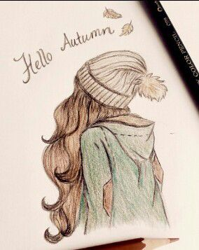 girl, autumn, and drawing image