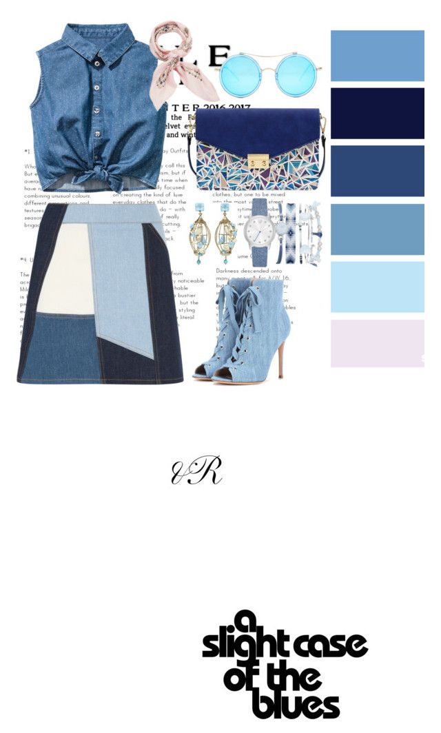 """""""Fifty Shades Of Blue"""" by devarahma on Polyvore featuring Gianvito Rossi, Victoria, Victoria Beckham, Mellow World, A.X.N.Y., AQS by Aquaswiss, Of Rare Origin and Manipuri"""