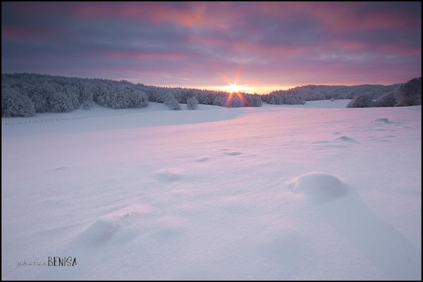 coucher de soleil sur l'Aubrac