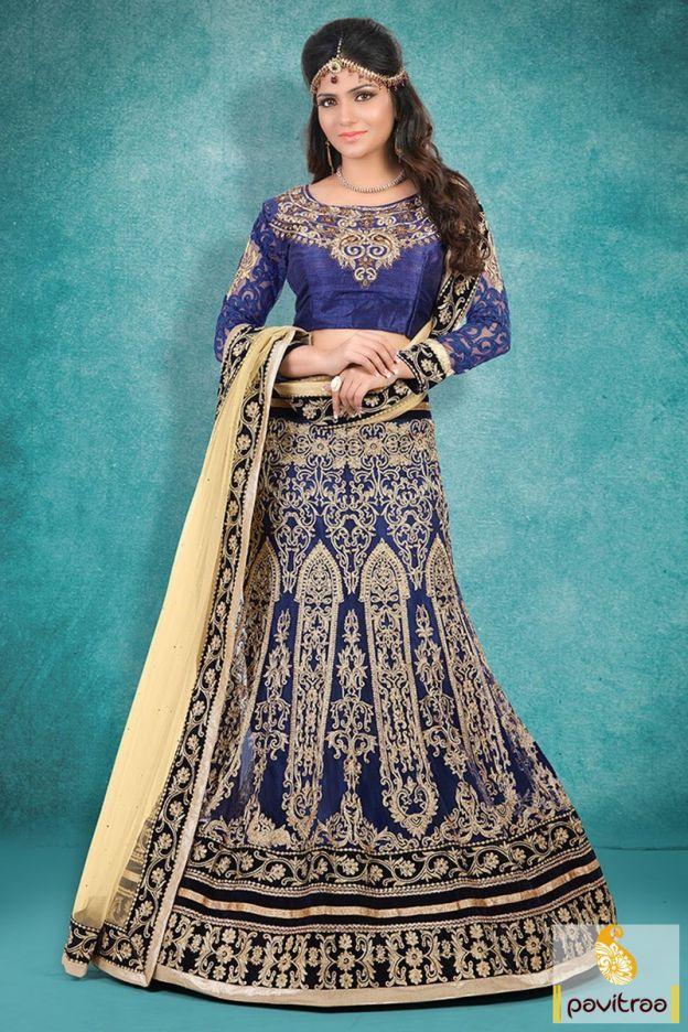 Get highly fashionable look by wearing this blue and cream net designer lehengha choli. Paired with any of your fancy ornaments.  #lehengacholi, #chaniyacholi, #ghagracholi, #garbacholi, #weddingbrodalcholi, #navratricholi, #lehengastyle, #festivalcholi, #utsavfashion, #pavitraafashion,  http://www.pavitraa.in/store/lehengha-choli/