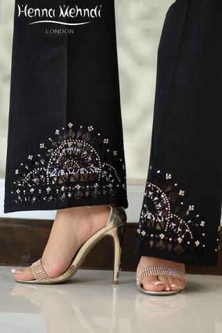 Black Raw Silk Embellished Cutwork Trousers - Ready Made Indian & Pakistani Clothes, Salwar Kameez, Outfits, Dresses, Suits & Trousers to Buy Online – Henna Mehndi