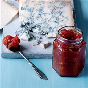 Cherry tomato and sweet chilli jam. This deliciously sweet yet spicy jam goes beautifully with cheese and home-made biscuits.