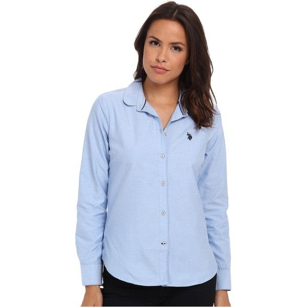 U.S. POLO ASSN. Long Sleeve Dot Print Oxford Shirt Women's Clothing,... ($28) ❤ liked on Polyvore featuring tops, pink, blue top, pink polka dot top, oxford shirt, pink top and blue print top