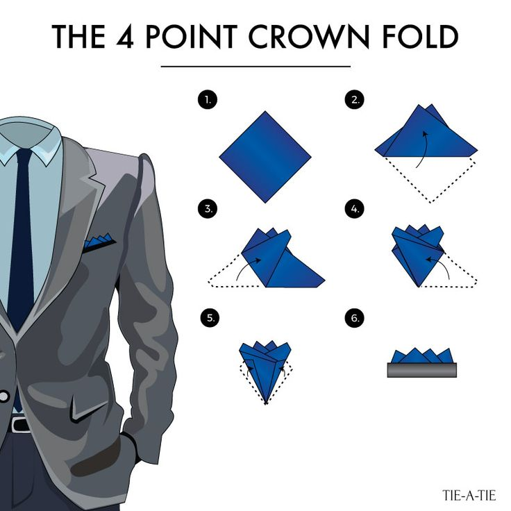 Fold your pocket squares with the 4-point crown fold. A classic way to wear your pocket squares!