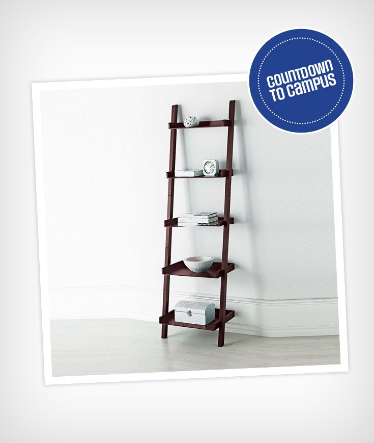 A unique wall shelf like this leaning pices is a great conversation piece for back to school. Perfect for a dorm!