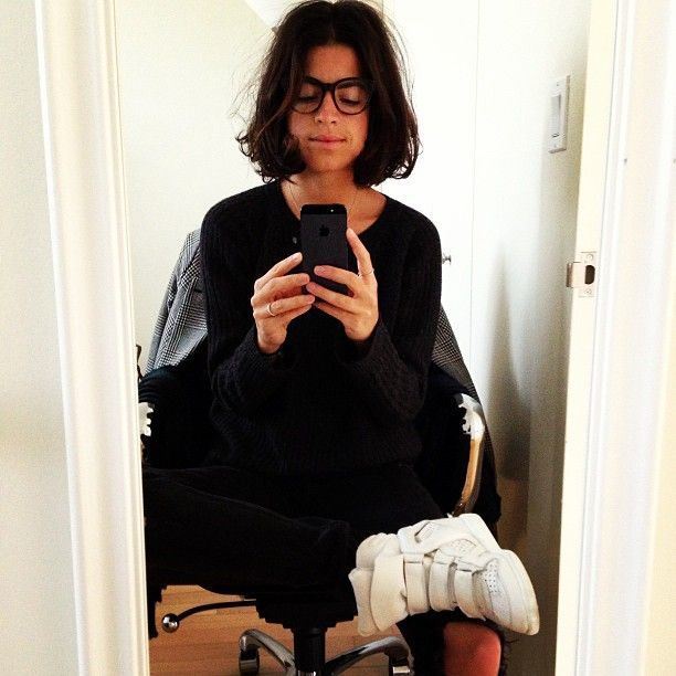 Vanessa Bruno sweater, Rag & Bone jeans, Isabel Marant sneakers and Warby Parker eyeglasses. #ManRepeller
