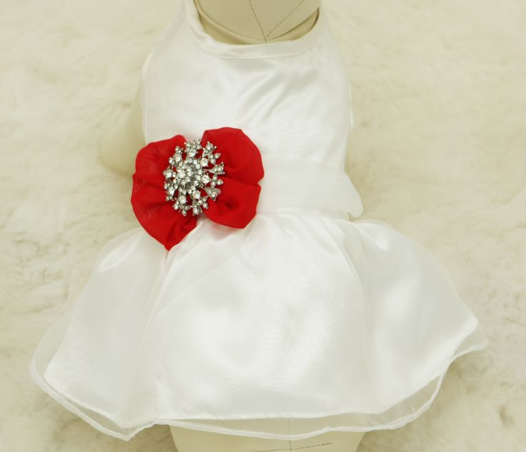 Red Dog Dress, Christmas gift, Pet wedding accessory, Rhinestone, dog lovers, Wedding gift, custom dog dress, Red dog dress