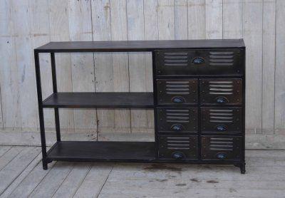 Avlastningsbord och byrå av metall - Svart