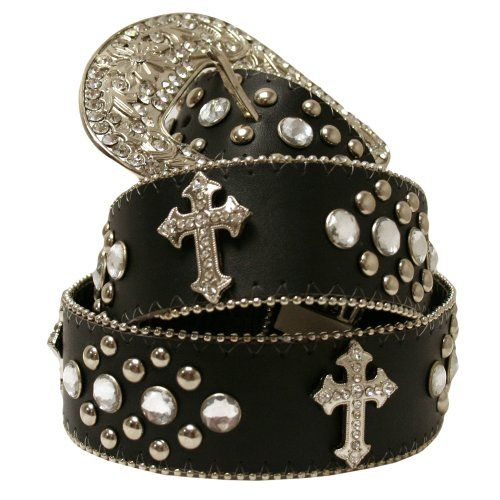 Black Cross Rodeo Rhinestone Western Bling Belt $22.99