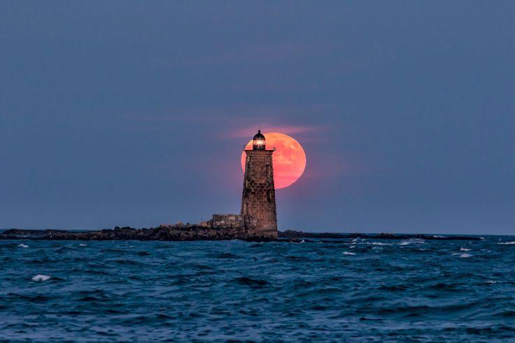 Harvest #moon rising behind Whaleback #Lighthouse   -   http://dennisharper.lnf.com/
