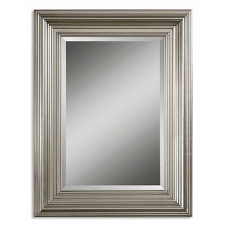 Two For The Master Bath Uttermost Mario Silver Wood Framed Beveled Mirror