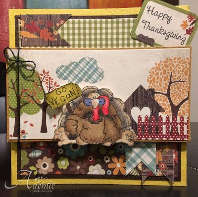 """ONECRAZYSTAMPER.COM: Gobble Gobble by Aaemie using High Hopes Stamps """"Tom's Plea"""" (R201) & """"Happy Thanksgiving"""" (F203)"""