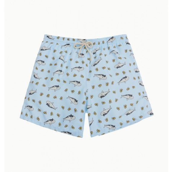 light blue sharks swim short / bañador tiburones color celeste