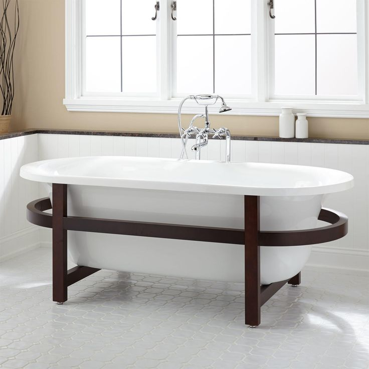 A Striking Wood Stand Is The Focal Point Of The Contemporary Poynter  Acrylic Tub. This Freestanding Acrylic Bathtub Will Easily Pair With A  Contemporary .