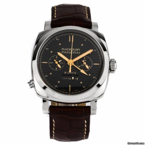 Panerai Special Editions ad: $32,500 Panerai Radiomir 1940 Chrono Monopulsante 8 Days GMT Oro Bianco Ref. No. PAM00503; White gold; Manual winding; Condition 1 (mint); Year 2016; With box; With pa