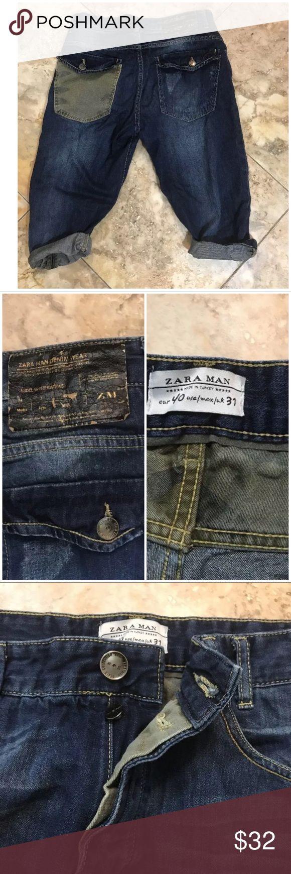 Zara man Jean shorts size 31 Camo pocket Zara man Jean shorts slim straight fit with Camo pocket Zara Jeans Slim Straight