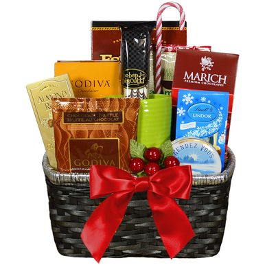 Send them warm winter wishes with this indulgent gourmet gift basket. Perfect for the coffee and chocolate lover!