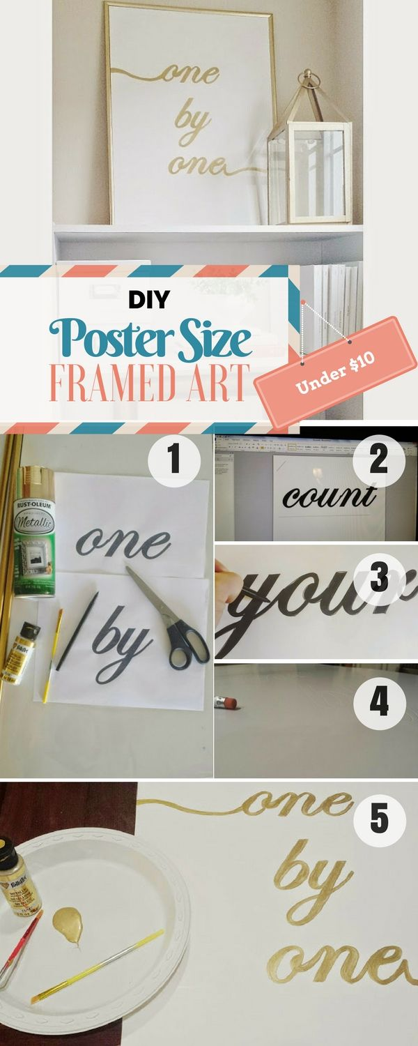 Check Out The Tutorial For A Diy Poster Sized Framed Art Diy Home Decor Projects Easy Diy Cool Diy Projects