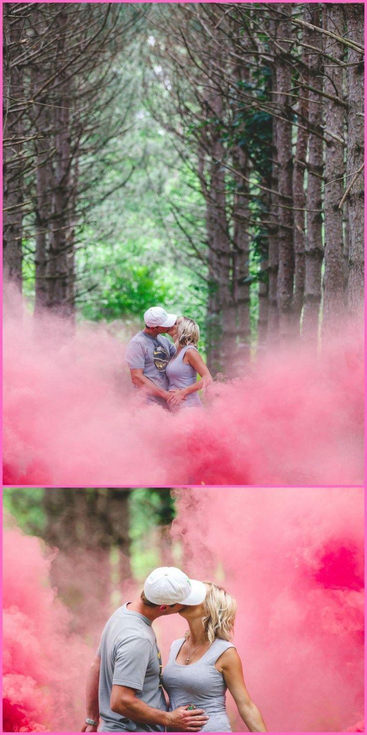 Pink smoke bomb. It's a girl. Gender reveal. Danielle Vetterkind photography