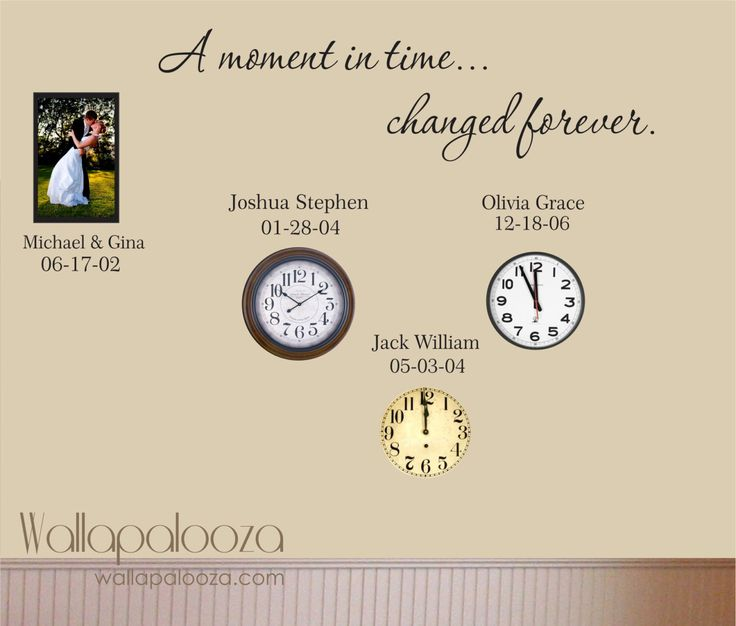 Family Wall Decal - Custom Wall Decal - A Moment In Time changed forever with set of names and dates by WallapaloozaDecals on Etsy https://www.etsy.com/listing/120431568/family-wall-decal-custom-wall-decal-a