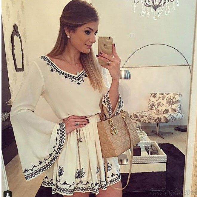 Wow~ I found Retro Embroidery Flare Sleeve White V Neck Dress Short Skirt only $23.99 from ByGoods.com! I like it <3! Do you like it,too?
