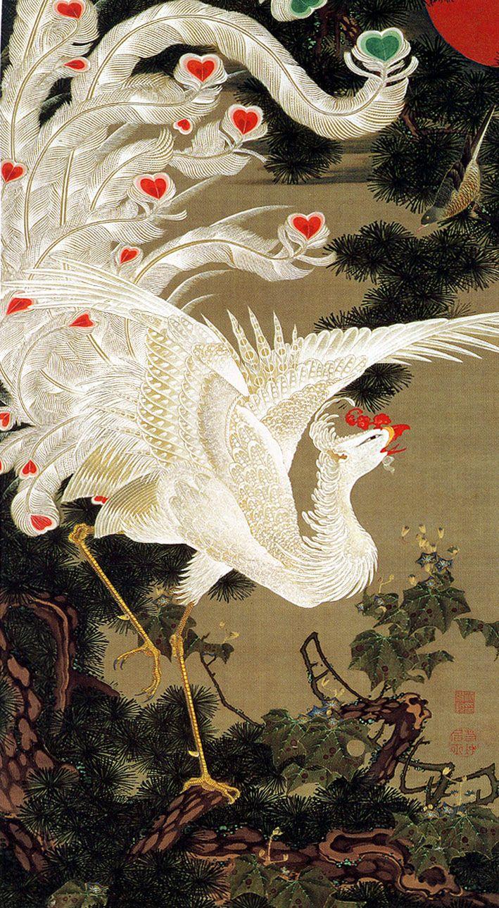 White phoenix and old pine 「老松白鳳図」, by Itō Jakuchū 「伊藤 若冲」