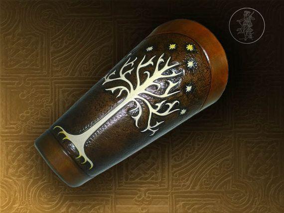 Hand Carved Leather Archery Bracer by ArtemisLeathercraft on Etsy