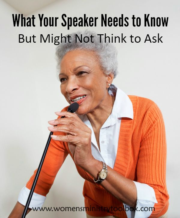 Hosting an outside speaker? Make sure you share this information that your speaker needs to know. Click to view the list. Women's Ministry events.