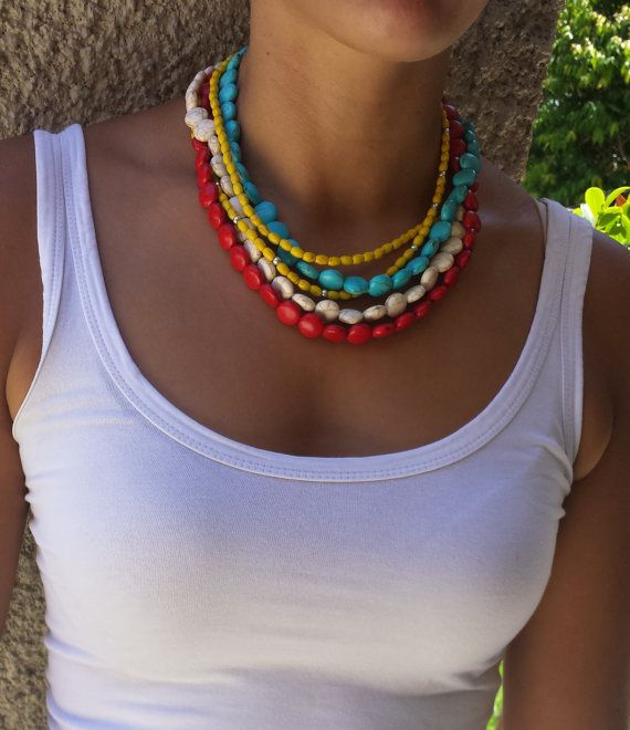 Tribal style Howlite gemstone necklace. One by BeanCreationsbyGill, $30.00