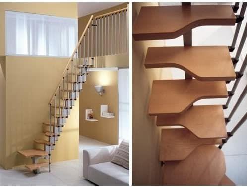 Misterstep vende escaleras en KIT. Escalera Mini Plus compensada de peldaños pié izquierdo y derecho, para espacios reducidos, metálica con peldaños de madera.