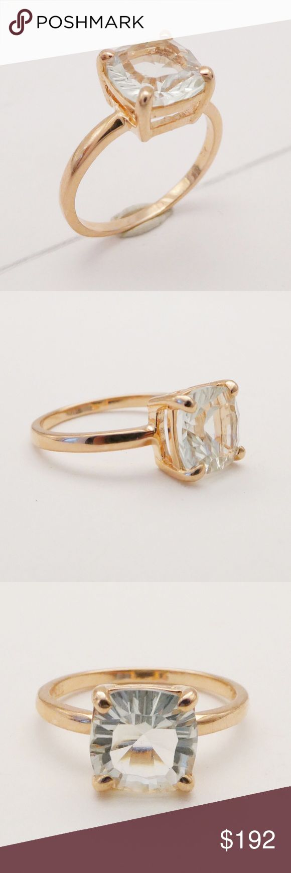 💎🌹 Rose Gold & Green Amethyst Square Ring🌹💎 This may be my most favorite piece in the boutique! 1.4 CT Square Cut Green Amethyst claw set in 14K Rose Gold plated 925 Sterling Silver. The subdued colors of this piece playing off of each other is incredible! Ask me about additional sizes! Cortina Jewelry Jewelry Rings