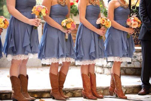 Blue jean and lace bridesmaid dress